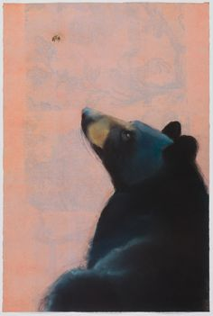 Black Bear and Bee Sylvia Gonzalez Pastel on monotype Black Bear Tattoo, Black And Grey Tattoos, Bee Sketch, Bee Drawing, Bee Painting, Wolf Tattoo Design, Abstract Watercolor, Watercolor Tattoos, Bee Art