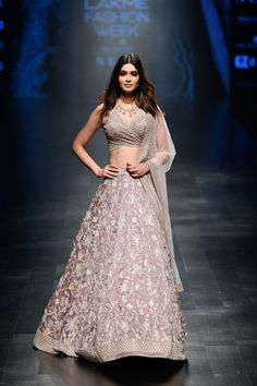Check out the latest collection by Mishru showcased at the Lakme Fashion Week Summer/Resort 2019 Indian Reception Outfit, Indian Wedding Outfits, Bridal Outfits, Indian Outfits, Indian Clothes, Wedding Dresses, Lehenga Choli Designs, Bridal Lehenga Choli, Indian Gowns