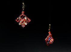 Earrings - quadratile, crescent, triangle, toho