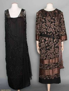 Two Evening Dresses, Early 1920s. For upcoming vintage and antique clothing auction. #1920s #vintagefashion