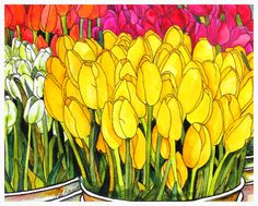 """Kate Larsson Studio - Online  New Spring Art work.  """"Buckets of Blooms"""" Original Available.  Reproductions also available as Giclees, Tempered Glass Cutting Boards, Ceramic Art Tiles, Ceramic Coasters and Computer Mouse Pads."""