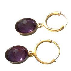 Amethyst Gold Hoop Earrings - Amara Jewellery | Song of Jewellery