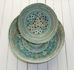 "Coiled Paper Basket / Bowl, Handmade - Shades of Aqua and Teal Recycled Paper, 5"" Diameter. $15.00, via Etsy."