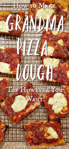 If you are a fan of pan pizzas, you will want to learn how to make this easy grandma pizza dough. Based on a Peter Reinhart recipe, this dough requires no mixer and makes enough dough to make a large grandma pizza plus a round pizza. This old school N Grandma's Pizza, Sauce Pizza, Flatbread Recipes, Pizza Recipes, Party Recipes, Potato Recipes, Dinner Recipes, New York Pizza Dough Recipe, Light And Airy Pizza Dough Recipe