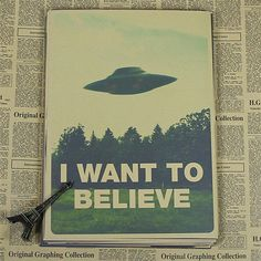 Vintage Classic Movie The X Files I Want To Believe Poster Bar Home Decor Retro Kraft Paper Painting 42x30cm Wall Sticker-in Wall Stickers from Home & Garden on Aliexpress.com   Alibaba Group