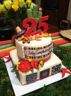 Spanish birthday cake - Fiesta cake for my niece's Mexican themed birthday party...Vanilla cake with raspberry filling square tier, triple layer mojito cake with lime filling.  Sugar paste Mexican tiles, Sugar paste painted dahlias, sombrero, chili peppers, cactus and maracas