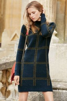 Buy Navy Check High Neck Dress online today at Next: United States of America