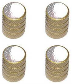 """Amazon.com : (4 Count) Cool and Custom """"Diamond Etching Golf Ball Top with Easy Grip Texture"""" Tire Wheel Rim Air Valve Stem Dust Cap Seal Made of Genuine Anodized Aluminum Metal {Earthy Audi Gold and White Colors - Hard Metal Internal Threads for Easy Application - Rust Proof - Fits For Most Cars, Trucks, SUV, RV, ATV, UTV, Motorcycle, Bicycles} : Sports & Outdoors"""