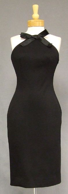 Tegler's Inc. Black Wool & Satin 1960's Halter Cocktail Dress