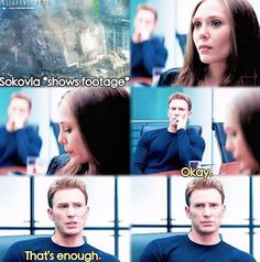 Steve being protective of Wanda #civilwar | Oh my goodness. I love that perspective. Obviously Steve is upset by it himself and doesn't want to watch it, but Wanda lost her brother in that war and, ever the selfless gentleman, Steve sees how much watching that footage hurts her.(So touchy!)