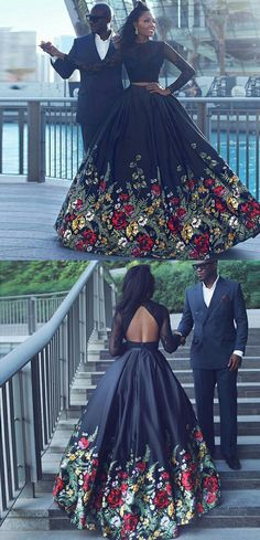 Two Piece Prom Dresses,Long Sleeves Prom Dresses,Black Floral Prom Dresses,Prom Dresses 2017