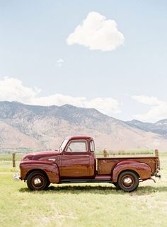 I would so love to have an old red pickup like this