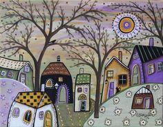 Countryside 11x14inch ORIGINAL CANVAS PAINTING Folk Art House Tree Karla Gerard #FolkArtAbstractPrimitive