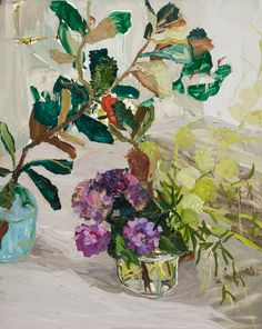 "huariqueje: "" Banksia Hydrangea and Balloon Plant - Laura Jones Australian, b.1982- Oil on linen ,152 x 122cm """