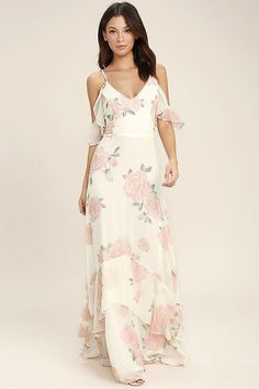 49341d0acf7 The Take You There Ivory Floral Print Maxi Dress will transport you to lush  meadows! A lightweight chiffon floral print maxi dress.