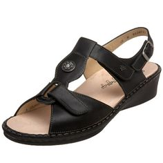 """Approx. 1"""" heel height. Trust the fit and feel of the Finn Comfort Adana sandal. Handmade in Europe, this women's casual sandal features a leather, patent leather or metallic leather upper for durability and a vegetable-tanned leather lining to wick away moisture. The shock-absorbing Finn Comfort Footbed is ergonomically designed to support and cushion your foot and can be removed for airing and h ..."""