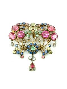 #HOLTaiganJewels Hobe Brooch with multi color pastel stones and three dangles.Pin measures 2 3/4'' in width and 2 3/4'' in length including dangle