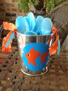 Under the Sea Goldfish Themed Tin for spoons or forks.  Orange & blue party.  Beach themed party.