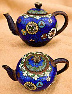 Antique cloisonné teapots