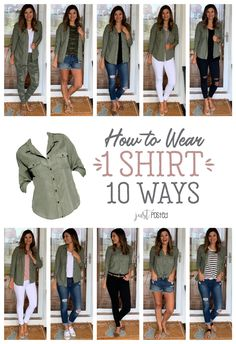 How to Wear One Green Shirt Ten Ways – Just Posted. Perfect piece for a capsul… How to Wear One Green Shirt Ten Ways – Just Posted. Perfect piece for a capsule wardrobe and. Mode Outfits, Trendy Outfits, Fashion Outfits, Womens Fashion, Classy Outfits, Chic Outfits, Travel Outfits, Retro Outfits, Fashion Advice