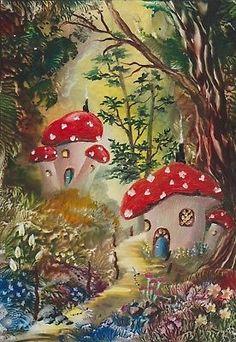 "Encaustic wax Painting A5 "" Fairy Tale Forest "" Original J.E.Green"