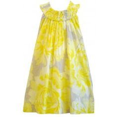 Kit + Lili :: ON SALE!! Bright and cheery just the print alone makes me happy to look at. This beautiful full fit sundress is sleeveless with elastic ruching at the neck and fully lined.  Its simply an easy summer time dress that can be dressed up or down. Not to mention the fabric is hand silk-screened with non-toxic ink!    100 % Cotton    Made in India    Color: Yellow & Grey Rose Pattern