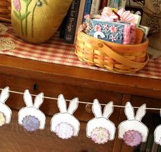 Bunny Butts Bunting - lavender and purple tails