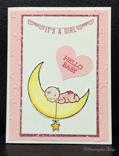 Stampin days; Moon baby, baby card, baby shower, any occasions, Stampin UP!