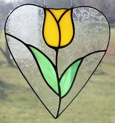 Stained Glass Suncatcher  Tulip in Heart by OnlineGlass on Etsy, $15.00