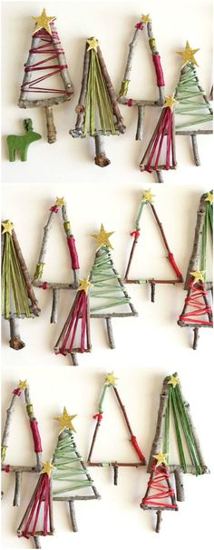 The kids will love making these natural twig Christmas trees that can be hung up as decorations, placed around your festive table or added to presents under the tree. Plus, if you\'re looking to add a little extra to your gift giving this year, these mini festive trees make the perfect present toppers. Click for the full step-by-step. (Photo: Desirée Wilde) #christmas #christmascrafts #crafts #ChristmasTree #christmastime