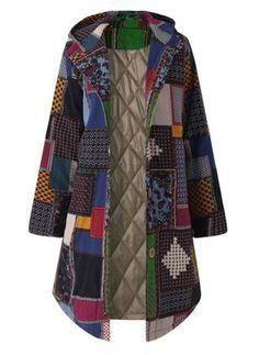 Realdo Women Bohemian Coat, Womens Plus Size Vintage Fleece Thicken Hoodie Button Long Parka Plus Size Outerwear, Plus Size Coats, Winter Jackets Women, Coats For Women, Clothes For Women, Plus Size Vintage, Long Parka, Handmade Skirts, Winter Fashion