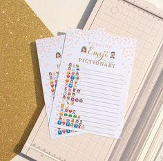 Pink and Gold Bridal Shower Wedding Emoji Pictionary Game .