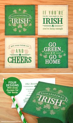 {free printable} St. Patrick's Day Coasters, each one with a festive drink recipe printed on the back.