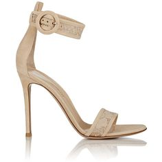 Gianvito Rossi Women's Portofino Ankle-Strap Sandals ($319) ❤ liked on Polyvore featuring shoes, sandals, heels, обувь, colorless, buckle sandals, high heel sandals, clear heel shoes, open toe high heel sandals and ankle tie sandals