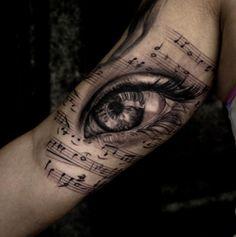 Black & Grey Tattoo,Music Notes,Eye Tattoo