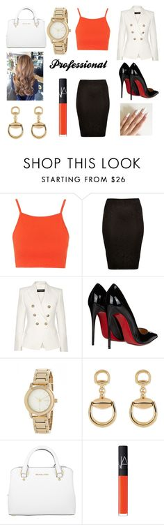 """""""When i get a job: Day 4!"""" by rojoubdalia on Polyvore featuring Topshop, River Island, Balmain, Christian Louboutin, DKNY, Gucci, Michael Kors and NARS Cosmetics"""