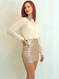 Secretary Sparkler Dress in Ivory and Gold. Love this site's dresses!