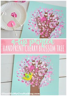 Q-Tip Painted Handprint Cherry Blossom Tree! A gorgeous spring flower craft that is perfect way to work on fine motor skills with preschool and kindergarten kids! #flowercrafts #handprintcrafts #springcrafts