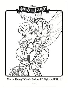 Pirate Fairy Printable Coloring Sheet - Fawn