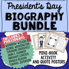 Perfect to assign as a whole class President's Day group or individual project, this easy to use biography bundle pack includes 7 different printable presidential biography mini-books available in both color and b/w options. With this print and go format, it's the perfect tool to encourage a wide range of thinking and creativity among students, connecting history with the present day.