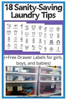 Free Clothing Drawer/ dresser labels that foster independence in children and save you time putting laundry away. +18 ways to save time and save your sanity doing laundry no matter if you have little kids or older kids.
