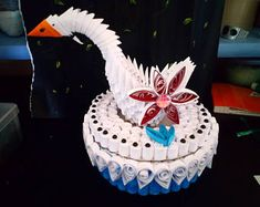 Quilling origami Swan box