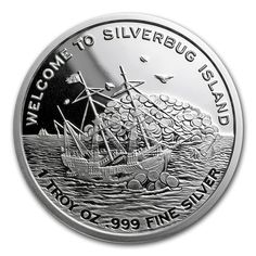 1 oz silver round - 2017 Silverbug Island whirlpool. Silver Investing, Silver Rounds, Coins, Island, Personalized Items, Rooms, Islands