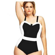 """🆕Plus Size Padded Halter Vintage Swimsuit Classy, halter design swimsuit for the full-figured woman Retro """"pinup girl"""" fashion provides a timeless style Halter straps are adjustable Push-up cups for additional support Poly-spandex blend is breathable and comfortable in the summer sun Swim One Pieces"""
