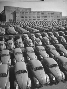 Volkswagen Factory Rolls an Average of 150 Efficient 4 Cylinder Sedans Into Storage Yards Every Day Premium Photographic Print by Walter Sanders at Art.com