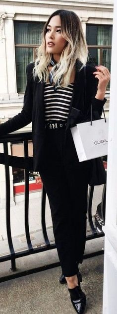#street #fashion  Pop Of Stripes On Black Outfit   Giggles & Dimples
