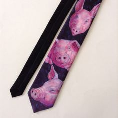 Ralph Marlin Pigs Mens Neck Tie Blue Pink 1989