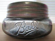 LIGHT BLACK BALL MASON WIDEMOUTH SQUATTY HALF PINT JAR & GALVANIZED LID
