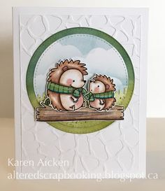 Painted Mountain Cards - #MFTStamps Hedgehogs.