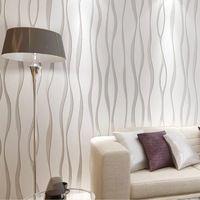 Minimalist wallpaper modern wallcovering, stripe wall paper ,glitter non-woven background wall wallpaper, for living room silver